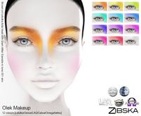 Zibska ~ Olek Makeup in 12 colors with Lelutka, Genus, LAQ, Catwa and Omega appliers and tattoo layers