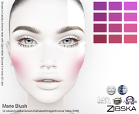 Zibska ~ Marie Blush in 12 colors with Lelutka, Genus, LAQ, Catwa and Omega appliers and universal tattoo layers