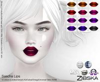 Zibska ~ Sascha Lips in 12 colors with Lelutka, Genus, LAQ, Catwa and Omega appliers and Universal Tattoo BOM layer
