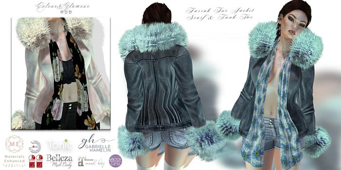 ♥ {GH} ♥ Farrah Leather Fur Scarf & Tank Duo II