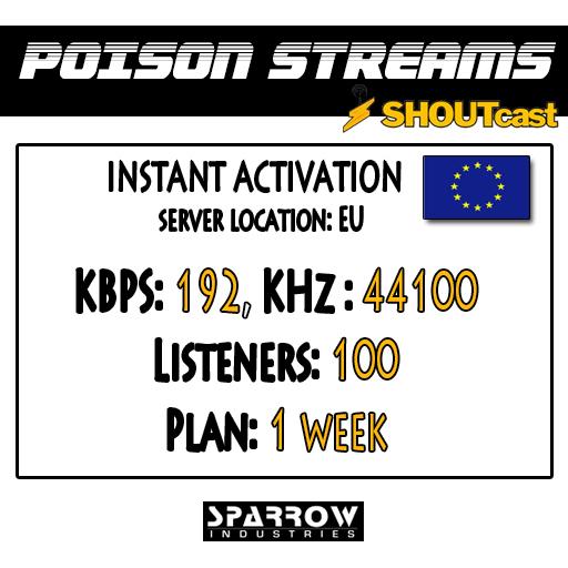 "SSC ""Shoutcast"" ""Europe"" (192, 44100, 100 Listeners) 7 Day(s)"
