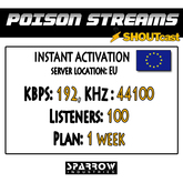 "SSC ""Shoutcast"" ""Europe"" (192, 44100, 100 Listeners) 7 Day(s)"