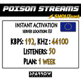 "SSC ""Shoutcast"" ""Europe"" (192, 44100, 50 Listeners) 7 Day(s)"