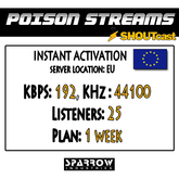 "SSC ""Shoutcast"" ""Europe"" (192, 44100, 25 Listeners) 7 Day(s)"