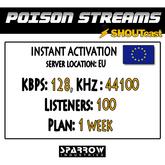 "SSC ""Shoutcast"" ""Europe"" (128, 44100, 100 Listeners) 7 Day(s)"