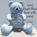 Snuggles - Love Heart Blue bear with poem Boxed