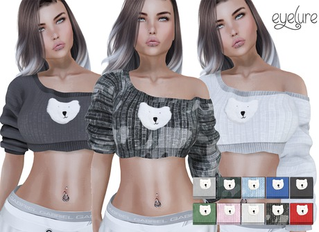 DEMO Eyelure Puff Bear Crop Sweater