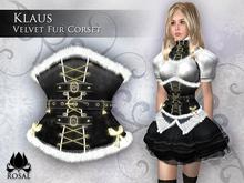 [ROSAL] KLAUS Velvet Fur Corset - Black