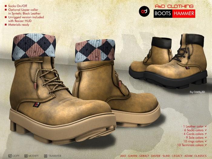 A&D Clothing - Boots -Hammer- Peach