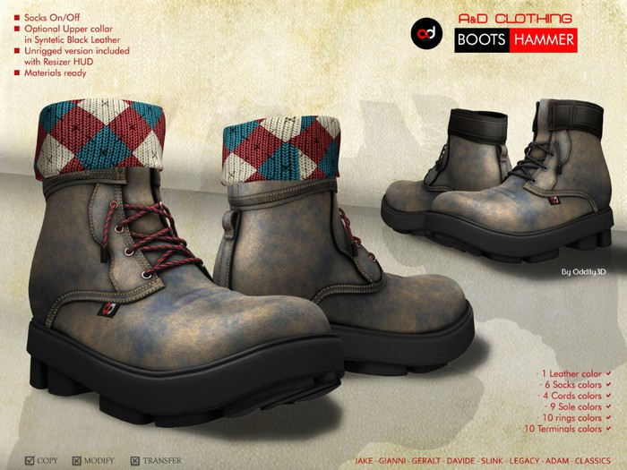A&D Clothing - Boots -Hammer- Olive