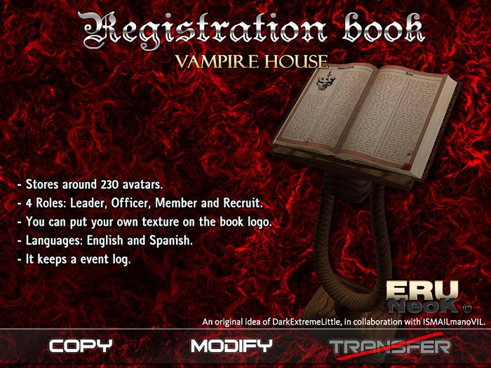 Registration Book - Vampire house