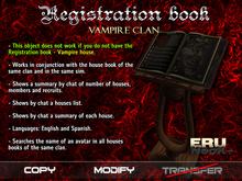 Libro de registro - Clan de vampiros