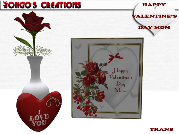 Second Life Marketplace Bmc572 Happy Valentine S Day Mom Card With A Single Rose Love Heart