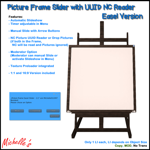 Picture Frame Easel Slider with UUID NC Reader