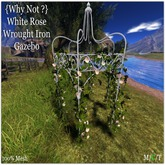 {Why Not ?}  White Rose Wrought Iron Gazebo-Boxed
