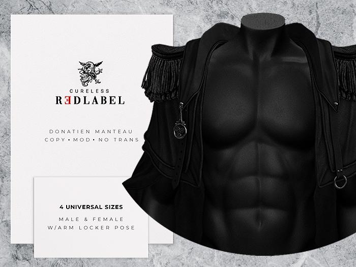 CURELESS REDLABEL / Donatien Manteau / BLACK / fits GIANNI, GERALT, JAKE, MAITREYA, HOURGLASS and more!