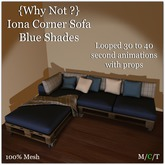{Why Not?} Iona Couples Corner Sofa Blue Shades-Boxed