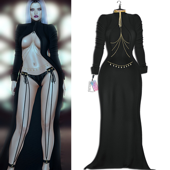 "Elegance Boutique -Dress Coat - Black  -  ""Ava"" - Legacy / Maitreya /Slink / Belleza"