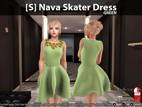 [S] Nava Skater Dress Green