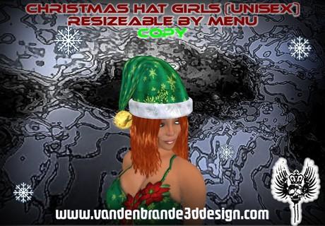 ~ Christmas hat girls (unisex) resizeable by click (menu)