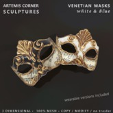 *AC* Venetian masks - white & blue d.box