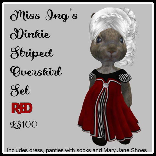 Miss Ing's Dinkie Striped Overskirt Red
