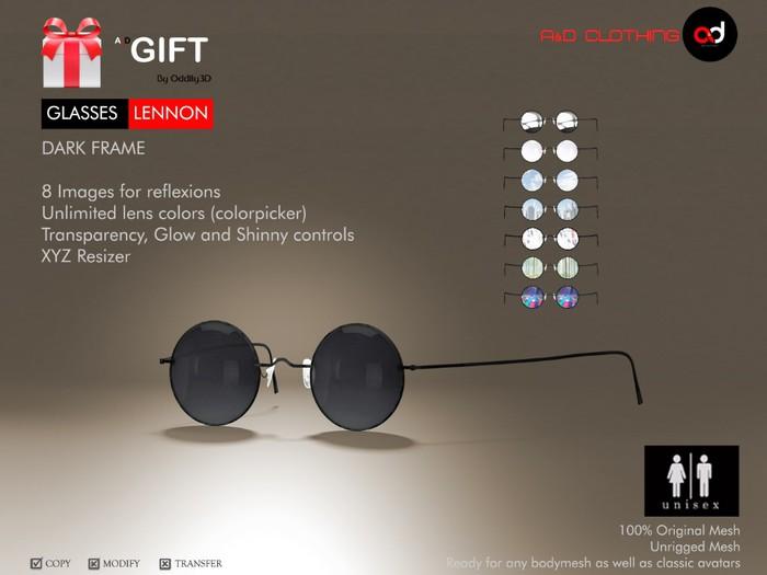 A&D Clothing ~ GIFT Glasses -Lennon- Dark