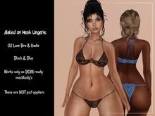 BOM 02 Lace Bra and Undie Black/Blue