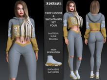 [LC] Crop Hoodie & Sweatpants Set - FOUR