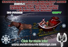 Santas Sleigh Menu controlled! + passenger menu! bells sounds and particle trail! read info! Drive and Flight Mode!
