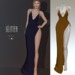 Glitter Nadine Fitmesh wrap high slit gown Ocre