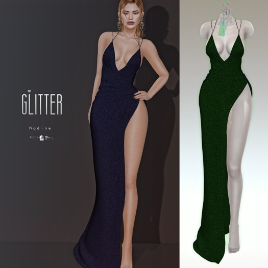 Glitter Nadine Fitmesh wrap high slit gown Emerald