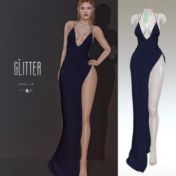 Glitter Nadine Fitmesh wrap high slit gown Blue Night
