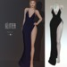 Glitter Nadine Fitmesh wrap high slit gown Black