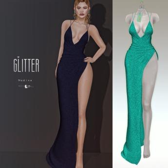 Glitter Nadine Fitmesh wrap high slit gown Acqua