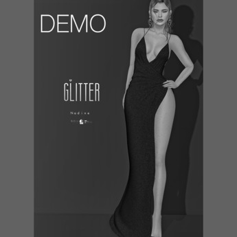 Glitter DEMO Nadine Fitmesh wrap high slit gown
