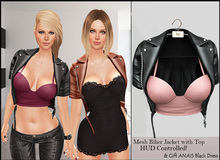 ★Cropped Biker Jacket HUD Controlled &GIFT Applier Black Dress★For CLASSIC AVATAR★