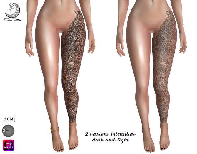*Moon Tattoo* Henna Leg IV (2 tones)