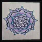 black framed purple and teal mandala, boxed