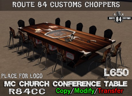 Route 84 Customs - MC Church Conference Table Set
