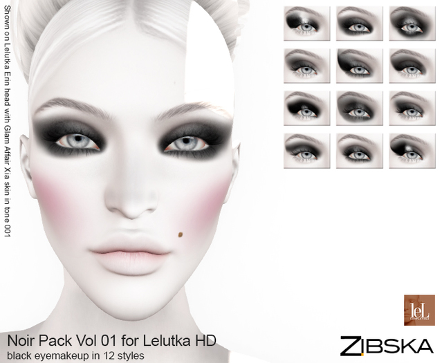 Zibska ~ Noir Pack Vol 01 for Lelutka HD Eye makeup in Black in 12 Styles
