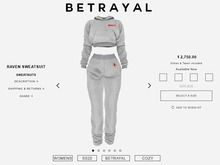 BETRAYAL. Raven Sweatsuit HEATHER Maitreya, Hourglass, Freya, Legacy