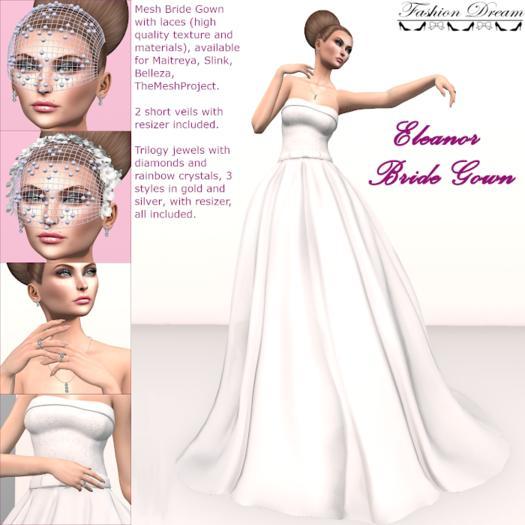Eleanor Bride Gown + Trilogy Rainbow Crystals - Fashion Dream