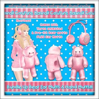 Kawaii Couture Bundle Up Bear Muff Set Pink
