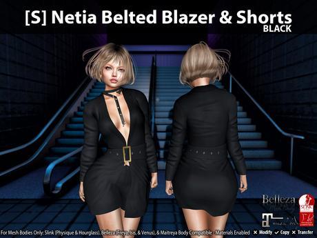 [S] Netia Belted Blazer & Shorts Black