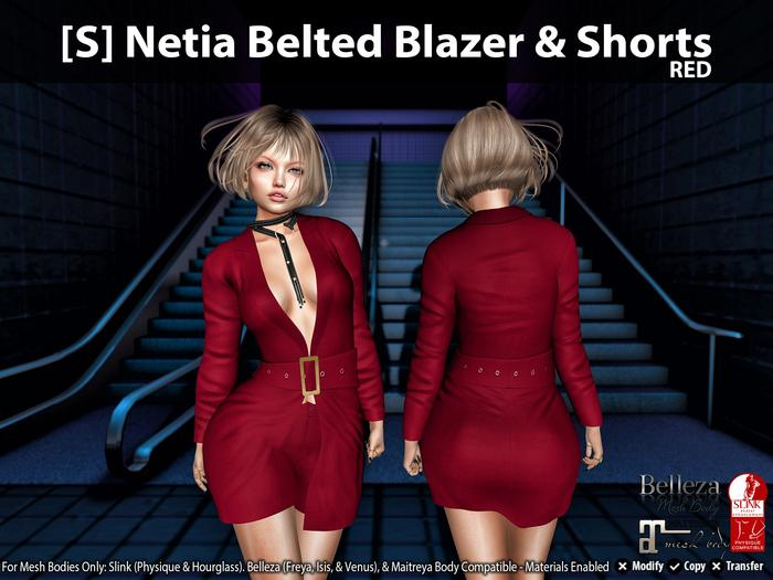 [S] Netia Belted Blazer & Shorts Red