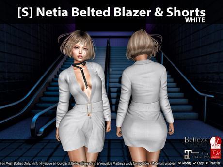 [S] Netia Belted Blazer & Shorts White