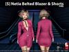 [S] Netia Belted Blazer & Shorts Pink