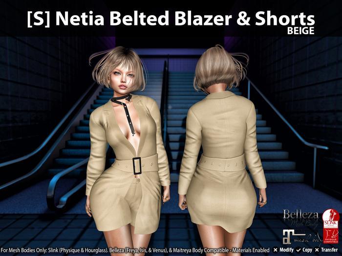 [S] Netia Belted Blazer & Shorts Beige
