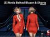 [S] Netia Belted Blazer & Shorts Orange